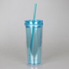 Mlife Hot & Cold Plastic Skinny Tumbler Clear Acrylic SKINNY 16 oz Tumbler Cup Mug 16oz Skinny Cylinder Tumbler with Straw