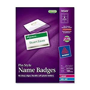 Badge Holder Kit w/Laser/Inkjet Insert, Top Load, 2 1/4 x 3 1/2, White, 100/BX, Sold as 1 Box
