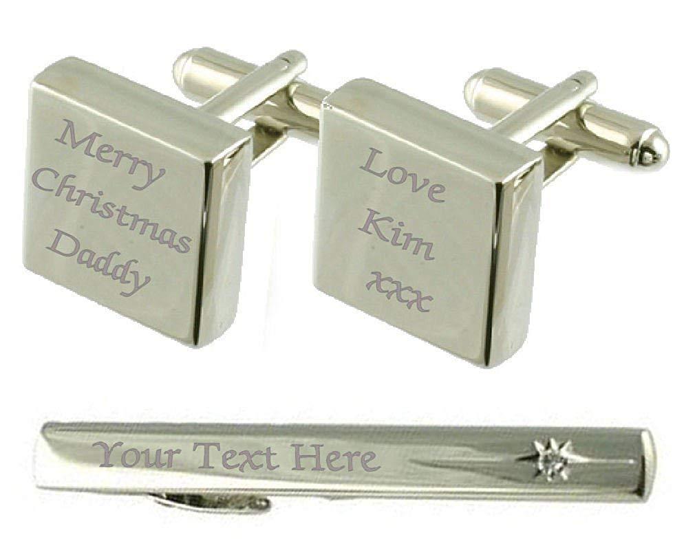 Merry Christmas Engraved Cufflinks Tie Clip Box Set