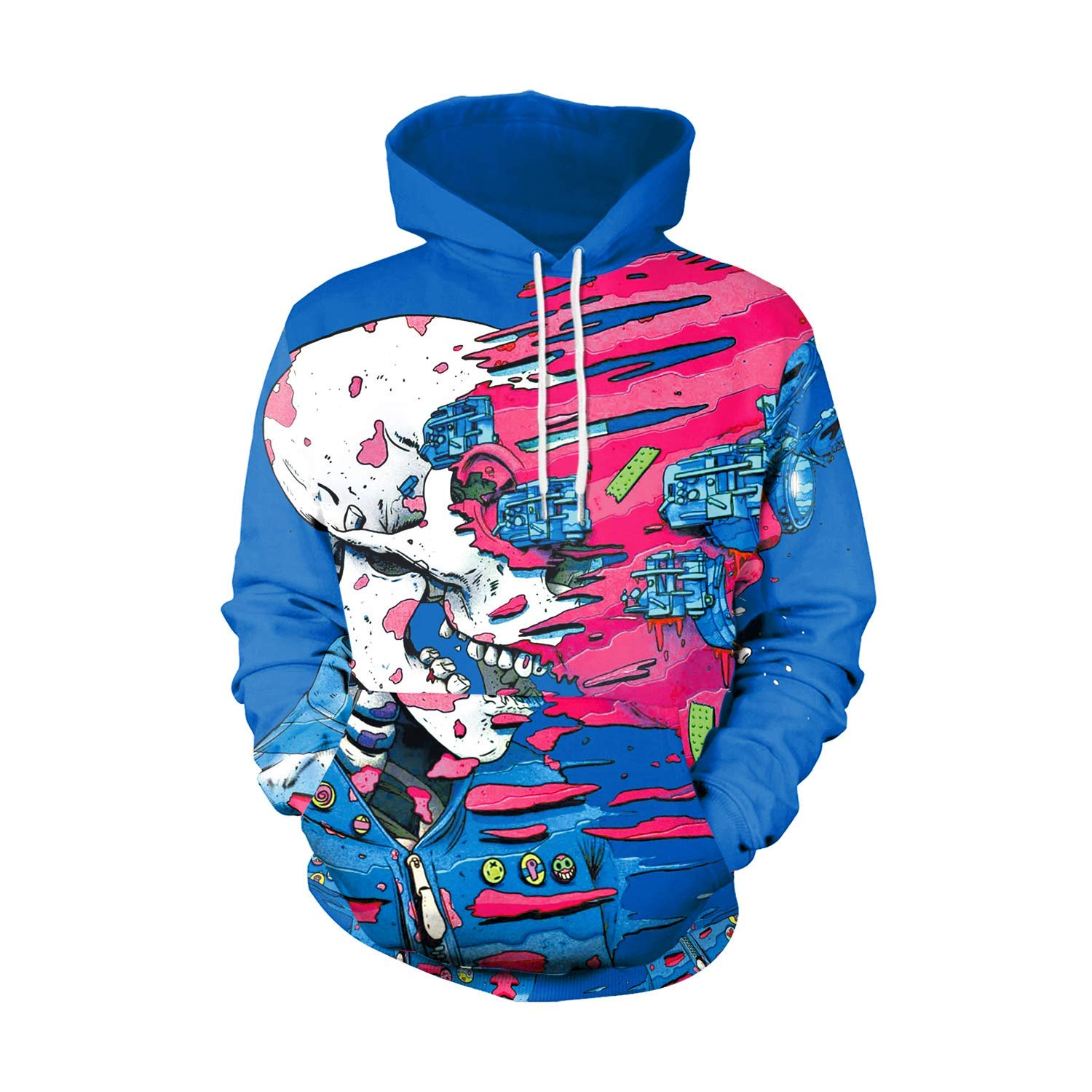 c6db034f8270 Get Quotations · Men s Hooded Long Sleeve 3D Digital Print Creative  Colorful Patchwork Design Hoodies Couple Pullover Hoodies