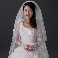 BV3379 White Single Layer Handmade Flower Church Long 2 Tiers White or Ivory Wedding Dress Veil