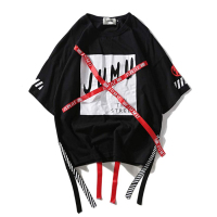 Unisex Long Sleeve Hiphop T Shirt Crew Neck Printing Fashion Cool Printed T-Shirt Street With Cool Rope Ornament