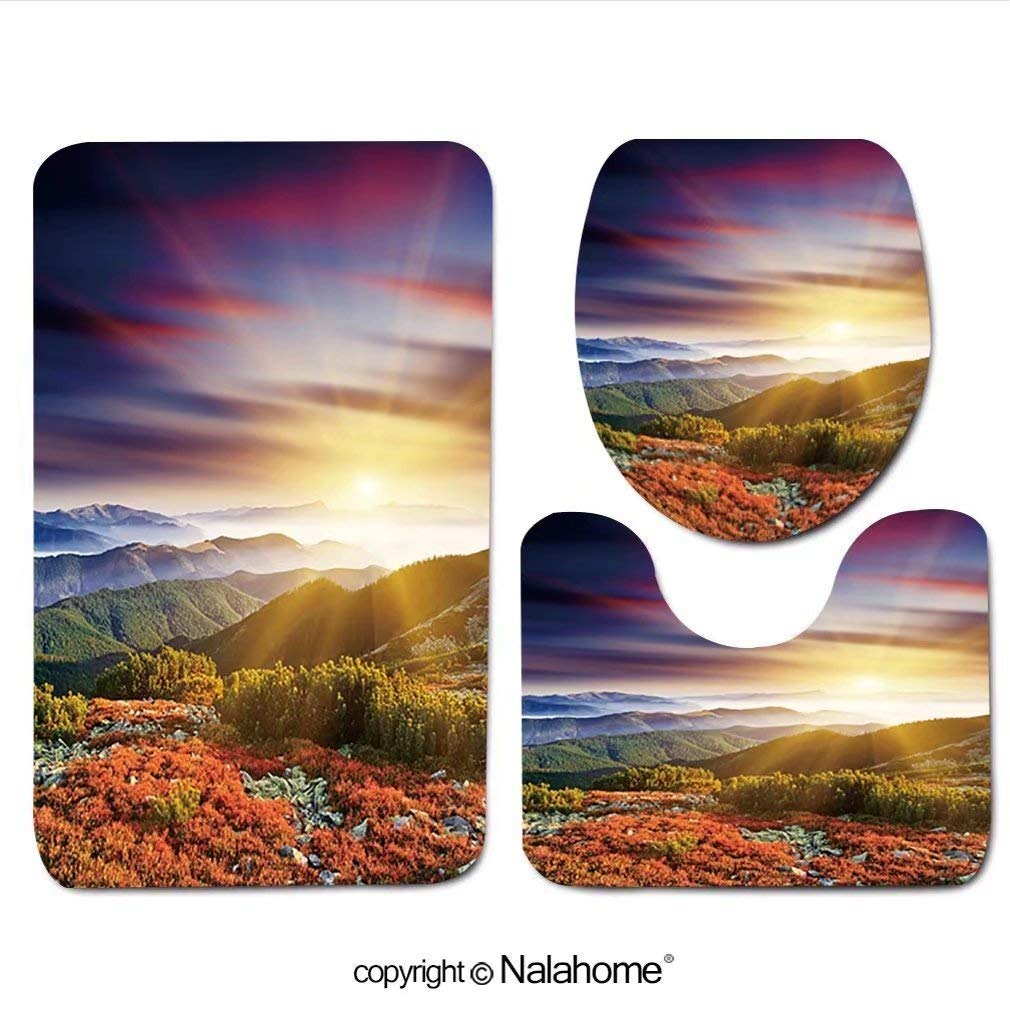 """3 Piece Bath Rug Set HeCheng design-74343886 Majestic Sunset in The Mountains LAN Bathroom Rug(19.29""""x31.1"""")/Large Contour Mat(15.35""""x19.29"""")/Lid Cover(13.58""""x17.51"""") for Bathroom(Yellow)"""