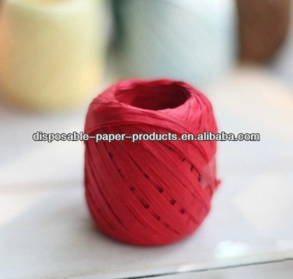 20m Red Paper Raffia Ribbon Craft Paper Raffia Ribbon Paper String Paper for Gift Wrap