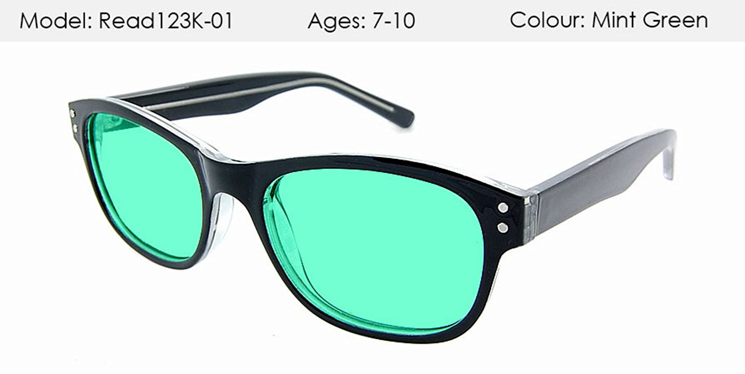 OPTOMETRISTS MADE Kids stylish MINT GREEN UV400 tinted Visual Stress/Meares-Irlen Syndrome Glasses - (Age 7-10)