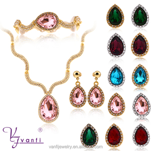 Fashion Bridal Wedding Jewelry Beautiful Big Diamond Necklace Earrings Sets For Women