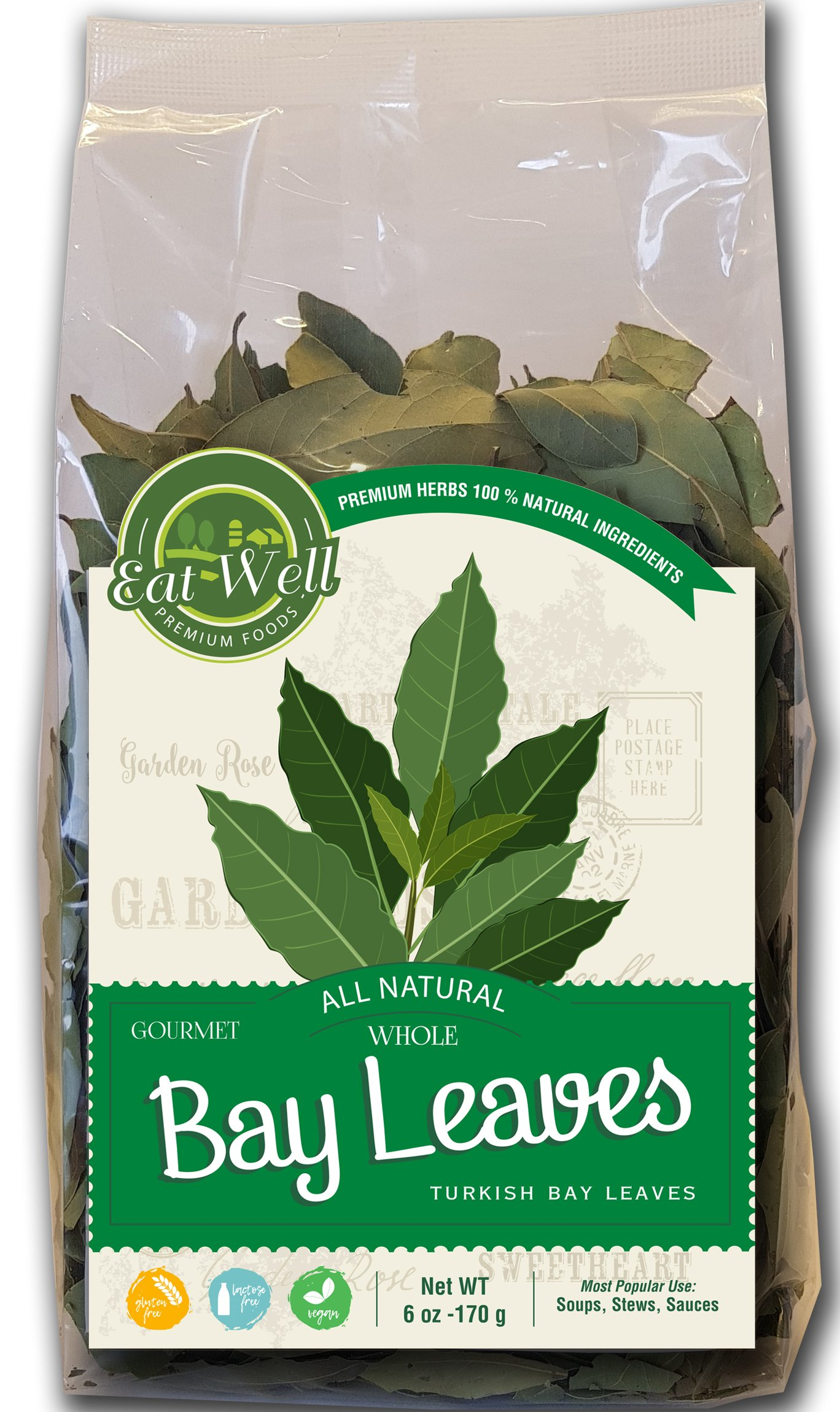 Turkish Bay Leaves Whole | 6oz Reseable Bag, Bulk | 100% Natural Dried Organic Leaf | Herbs & Spices | by Eat Well Premium Foods