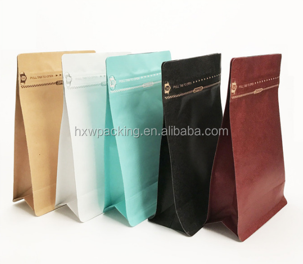 50g ethiopia design stand up waterproof craft paper box pouch tin tie kraft block bottom coffee bag