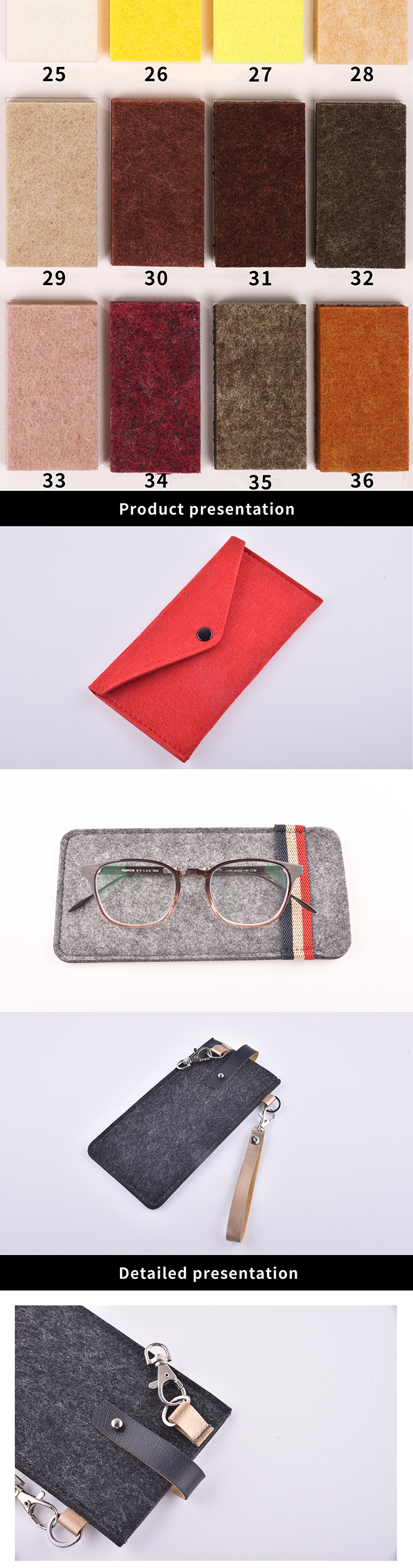 custom logo soft handmade felt glasses bag felt glasses pouch