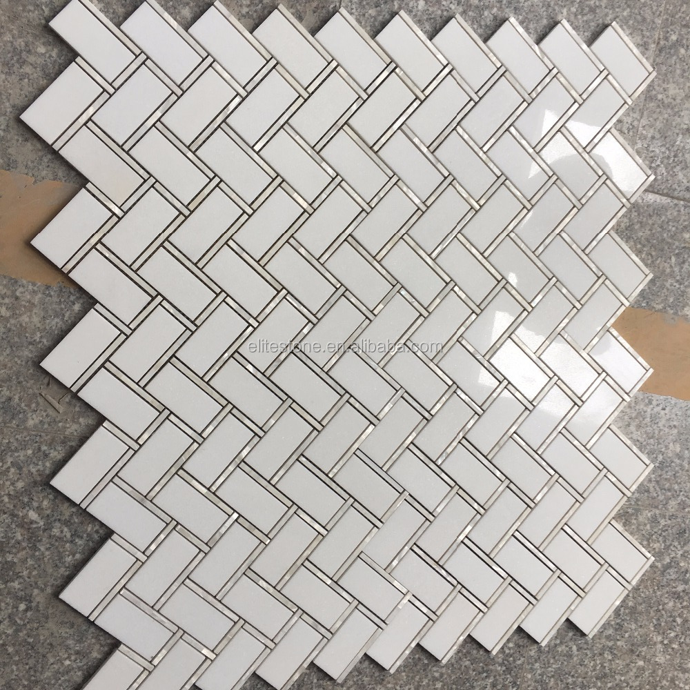 mother pearl of shell mix marble waterjet tile herringbone mosaic