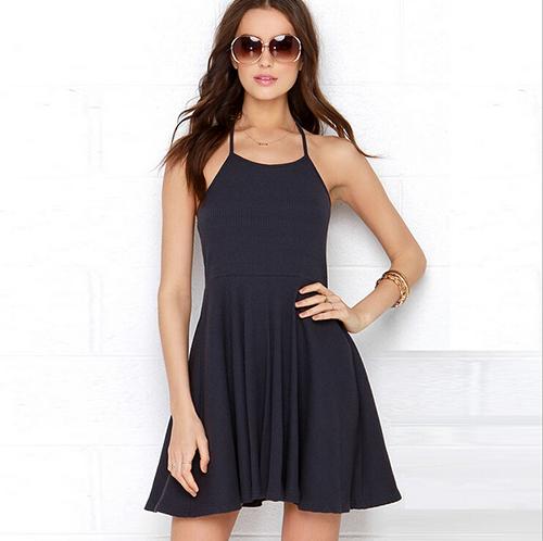 b7a92da3baae Get Quotations · Summer Style Backless Black Mini Dress Hang Neck Skater  Dresses Knitting Big Size XS-XXL