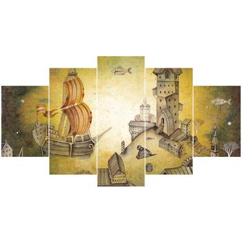 Ensemble D Art Pour Enfants Dessin Animé Château Voilier 5 Pièces Peinture à L Huile Mur Art Peinture Abstraite Buy Peinture Peinture à