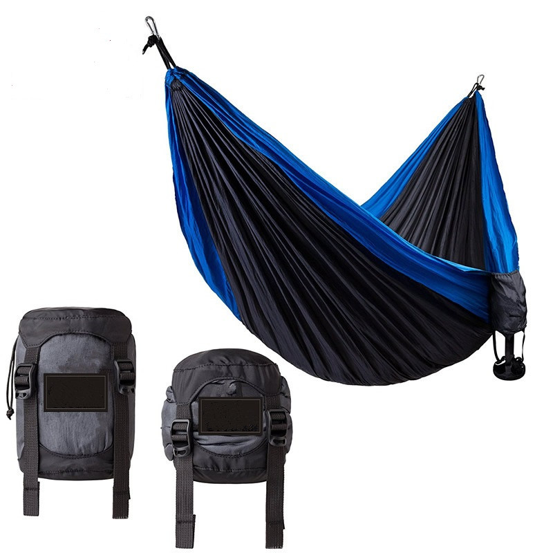 2017 Amazon Hot-Selling Nylon Parachute Double Hammock-Portable Outdoor Camping Hammock with Hammock Straps& Aluminum Carabiners