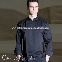 Long Sleeve Stand Collar Restaurant hotel kitchen cooking chef clothes coat jacket black chef uniform
