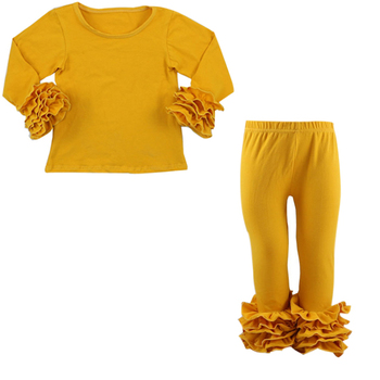 ea3f2c18494f33 Best Selling Little Girls Icing Ruffle Top and Pants Set Kid Mustard Pie  Cotton Comfortable Outfits