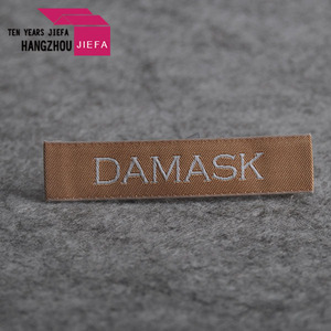 square damask labels for t shirt /labels for handbags/textile neck labels for t shirts