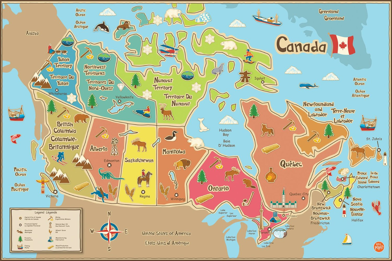 Buy Wall Pops WPE0623 Kids USA Dry Erase Map Decal Wall Decals in ...