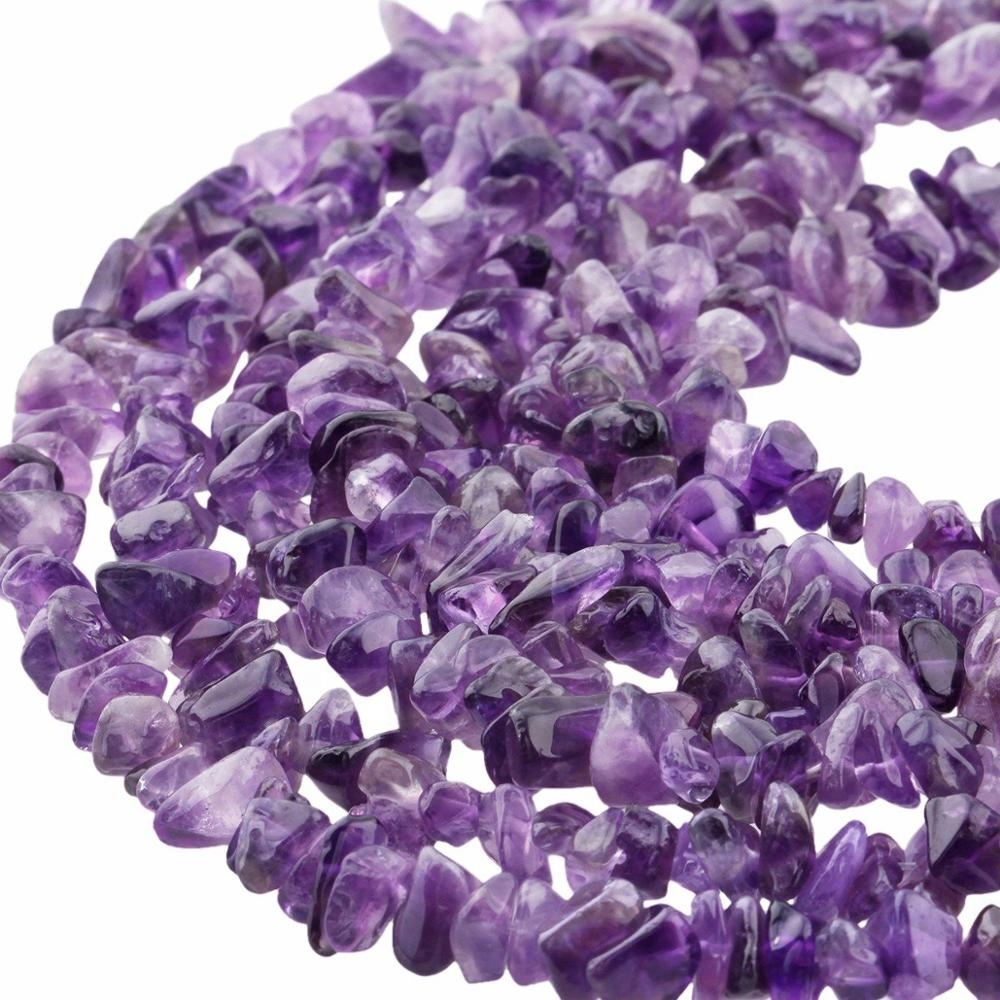 """Wholesale Amethyst Tumbled Chip Stone Irregular Shaped Drilled Gravel Loose Beads Strand for Jewelry Making 33"""