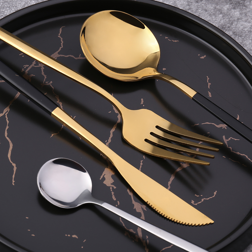 Gold Silverware 24-Piece Stainless Steel Flatware Cutlery Set for 4 Gold Mirror Polish  for  Wedding
