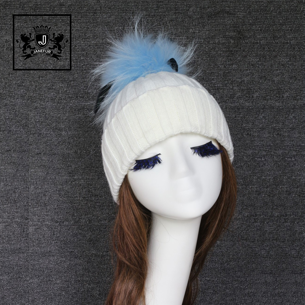 White Color Lovely Knitted Pom Pom Hat Acrylic Hat Wholesale China Beanie Hat