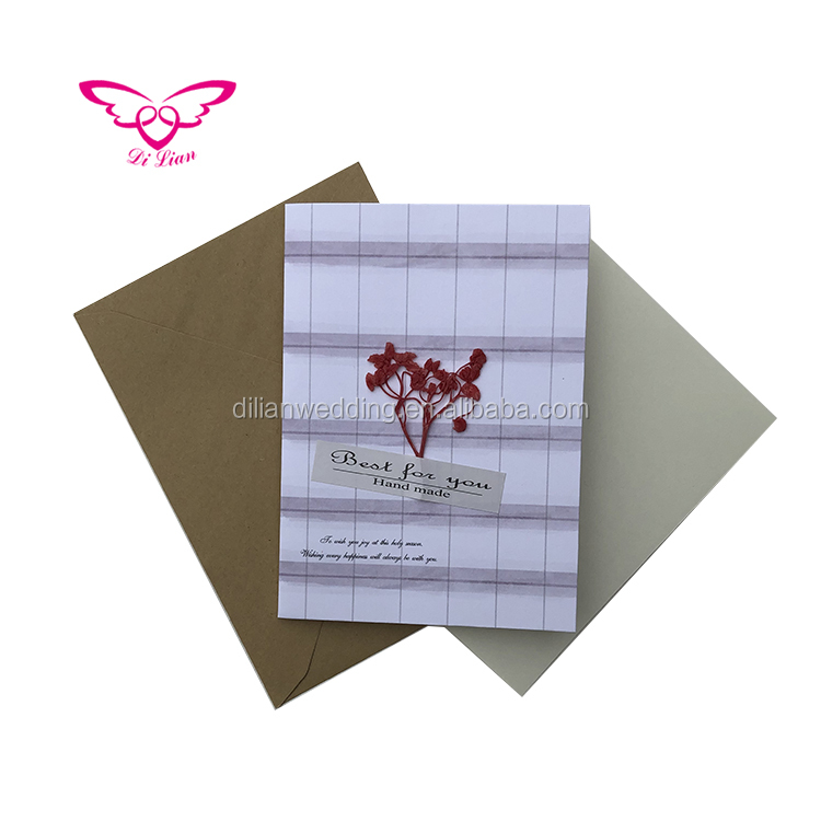 6 Designs 36pcs Packing Creative Dry Flowers Handmade Greeting Card Elegant Beautiful Dried Flower Greeting Card