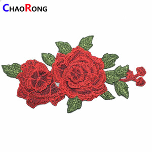 CRN0447 fashion red flower embroidery lace applique for ladies dresses