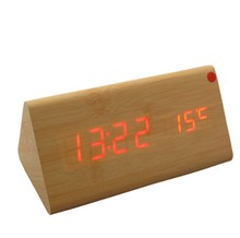 Sounds Control Alarm Thermometer LED Digital Wood Wooden Table Desktop Clock