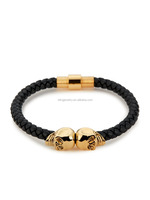 18k gold plated 925 silver skull real leather bracelets