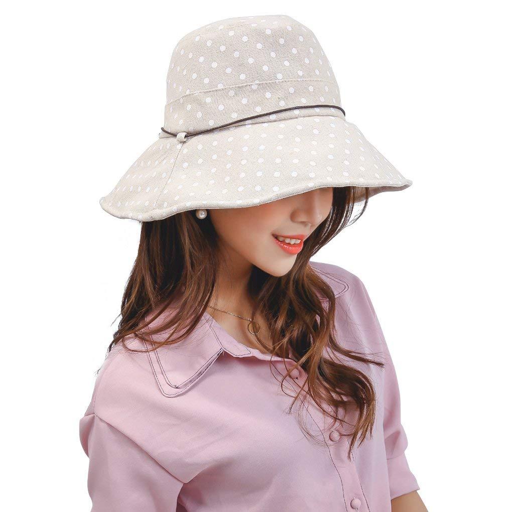 24b32238e1f Get Quotations · Womens Cotton Polka Dot Rippled Sun UV Protection Folding Bucket  Hat Floppy Beach Cap