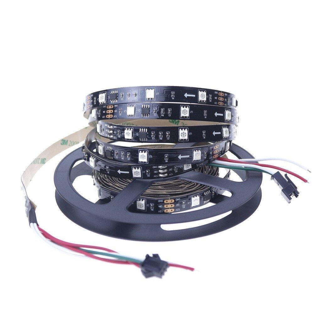 Alarmpore TM 16.4FT WS2811 Led Strip, Programmable and Addressable, 5050 Digital RGB LED Strip 5M 150LEDs Not Waterproof Dream Magic Color 12V Led Rope Tape 30LEDs/m Black PCB …
