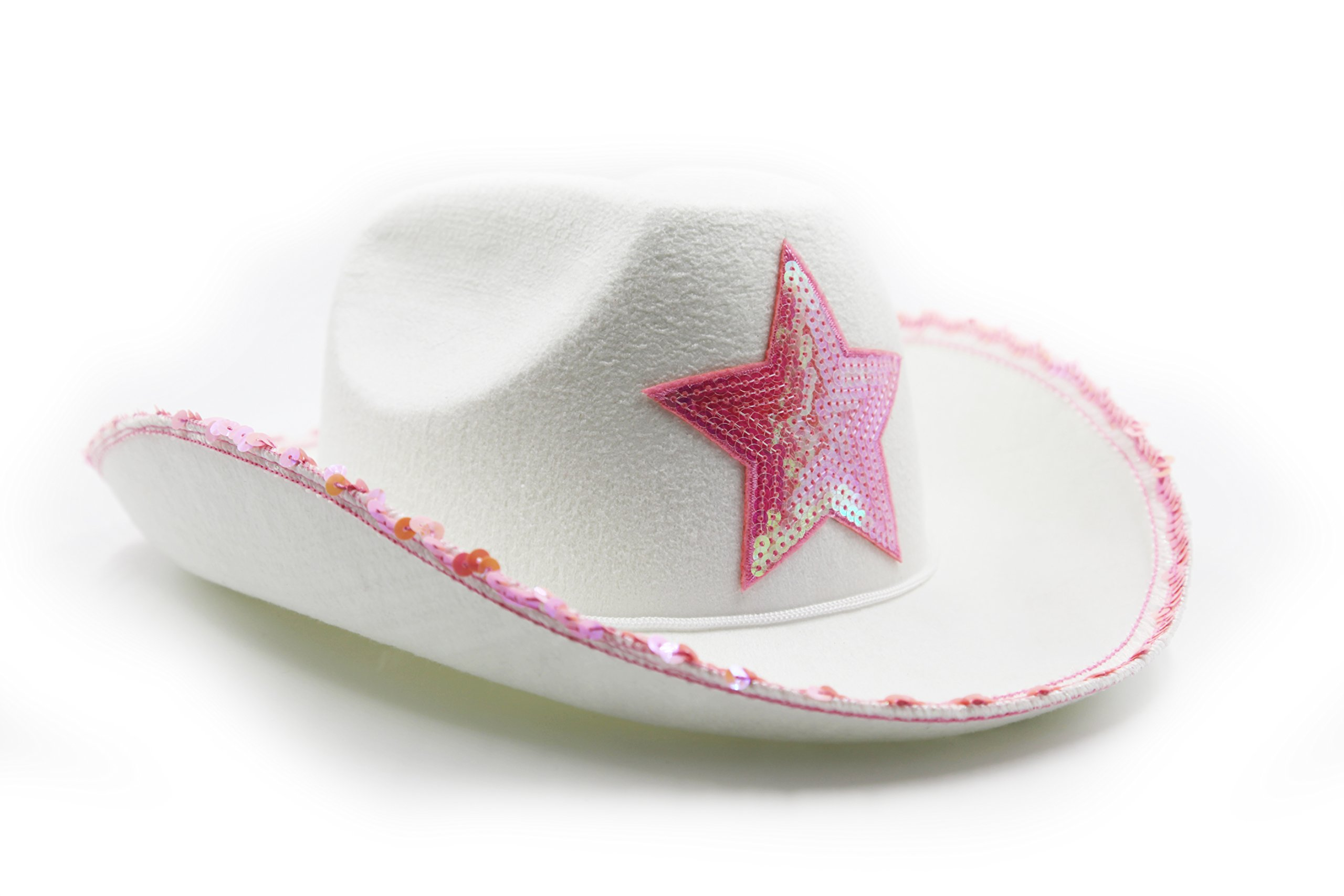 9ebe5bf82dd Girls White Felt Cowgirl Cowboy Hat With Pink Star - Women s Cowboy Hat  Dress up Costume