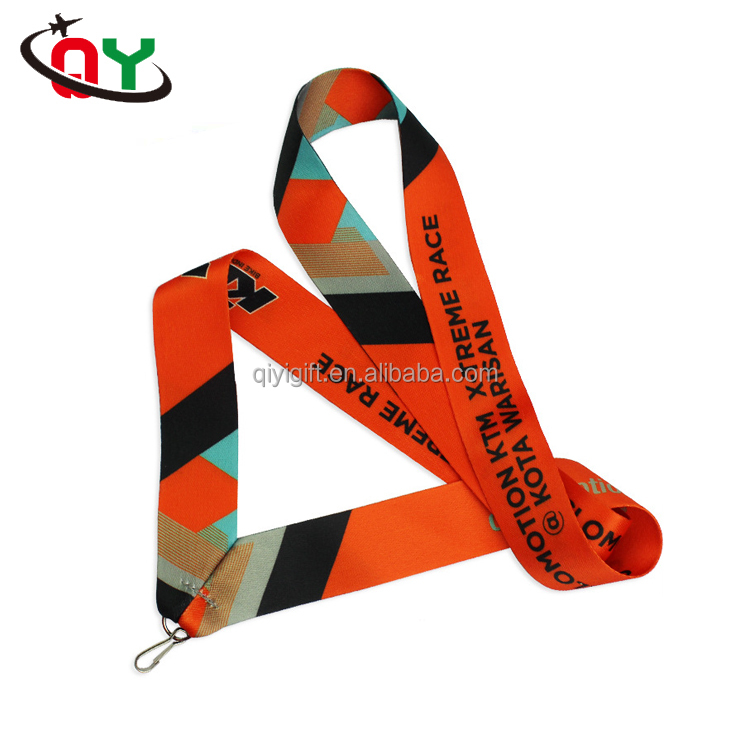 high quality polyester striped lanyard decorative medal ribbon lanyard for sale