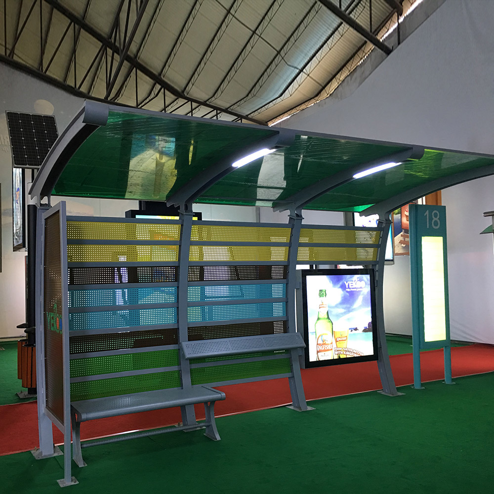 Outdoor furniture metal structure advertising light box solar bus station