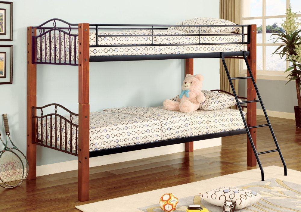 Twin Wood and Metal Bunk Bed Convertible