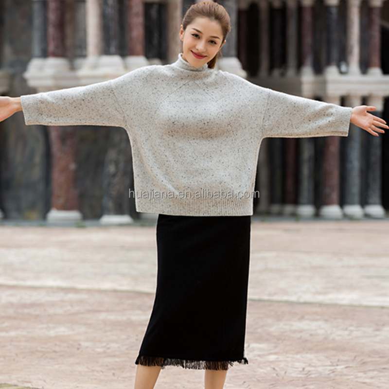 Inner Mongolia cashmere plus size grey neps sweater
