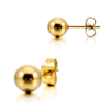 Fashion High Polished Gold Plated Round Ball Bead Stainless Steel Stud Earring