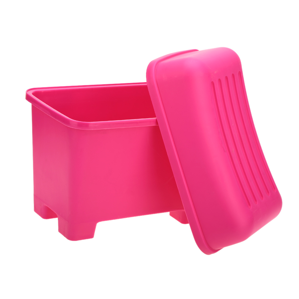 Rose Color Plastic Containers Durable Large Capacity Plastic Storage Box Bins Stool Organizers