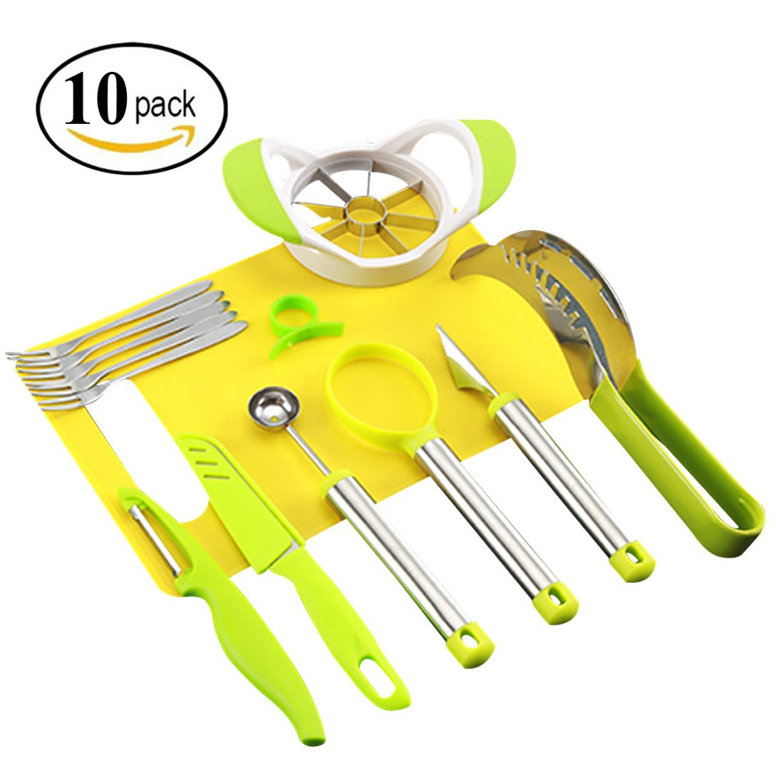 Coralpearl Kitchen Fruit Carving Garnishing Tool Set Melon Baller Scoop Spoon Knife Shapes Kit With Apple Cutter Corer, Watermelon Slicer,Citrus Peeler,Forks,Chopping Board and More (10)