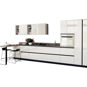 Manufacturers Custom Italian Modern design New Model High gloss White Solid furniture Set RTA PVC MDF Melamine Kitchen Cabinet