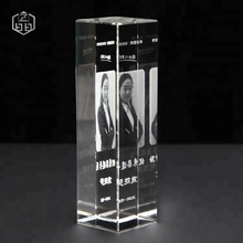 Wholesale Customized Laser Engraved Crystal Cube, Crystal Frames For Souvenir Gift Glass Cube Picture 3d Photo Frame