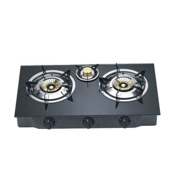 Kitchen Appliance Glass Cooktop 3 Burner Gas Stove With Brass Cover