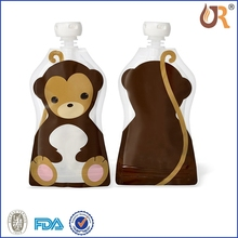 Safety baby food spout pouches,plastic food packaging , spouted standing up pouch for jelly
