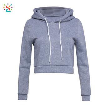 d7a1ebb2d65 Women cropped hoodie ladies sweatshirt plain hoodie custom logo crop hoodies  drawing string hooded sweatshirts