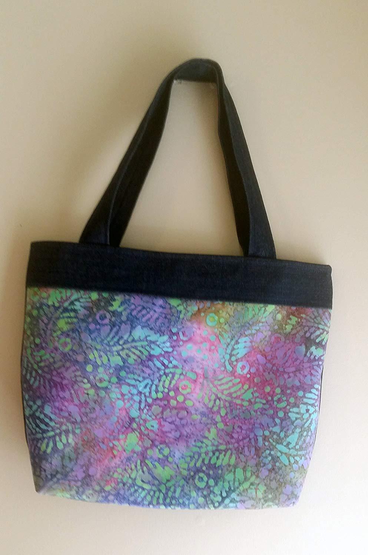 da63dd1f157d Get Quotations · Batik and Denim Colorful Tote Bag Shoulder Bag Handbag  Purse for Women