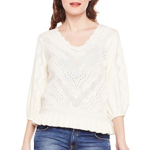 Garment Supplier Off-White V Neck Sweater Factory In Bangladesh