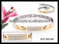 New design Stainless Steel Magnetic Golf Bracelet with semi-precious stones