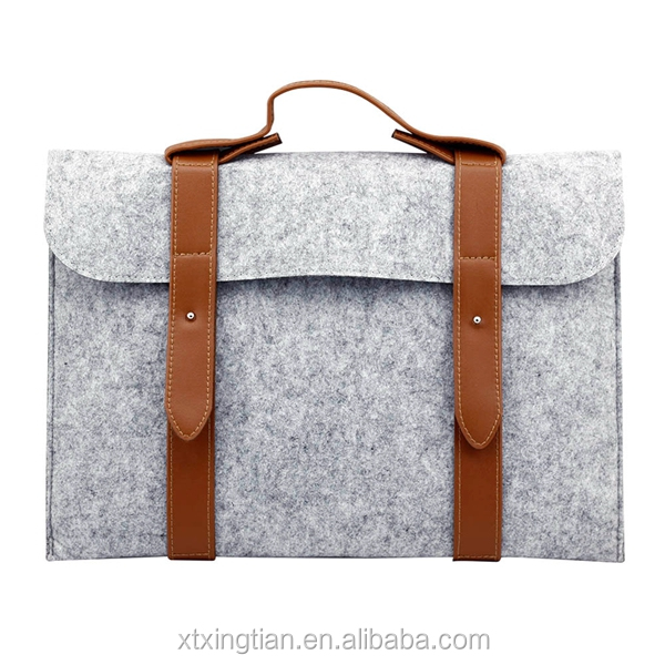 2020 China Supplier Felt 10 11 13.3 14 15 Inch Laptop Bag Felt File Pocket Felt Laptop Sleeve Bag with Leather Handle