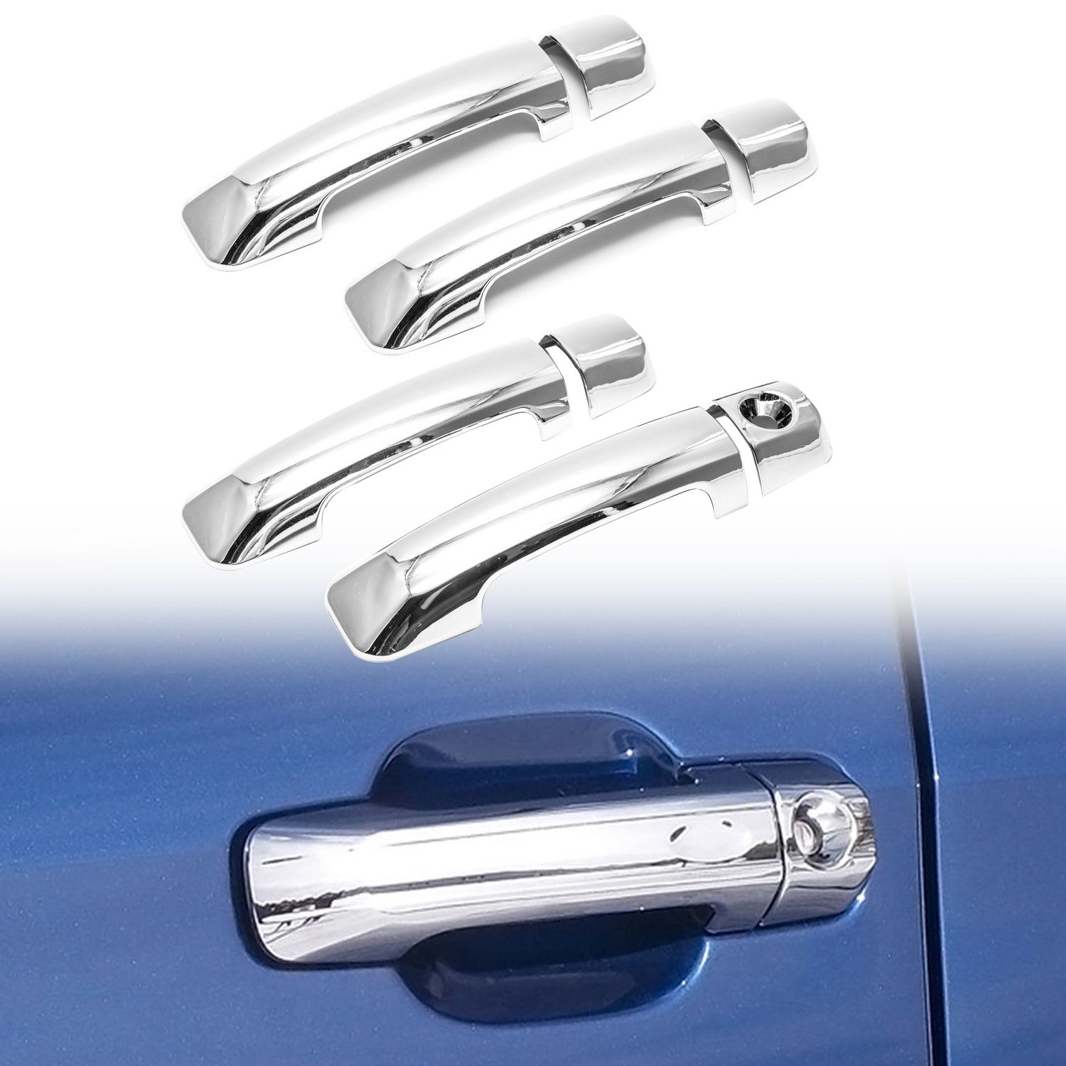 E-Autogrilles Triple Chrome Plated ABS 4 Door Handle Cover without Passenger Side Keyhole for 07-16 Toyota Tundra Crew Max / 08-16 Toyota Sequoia (64-0511)