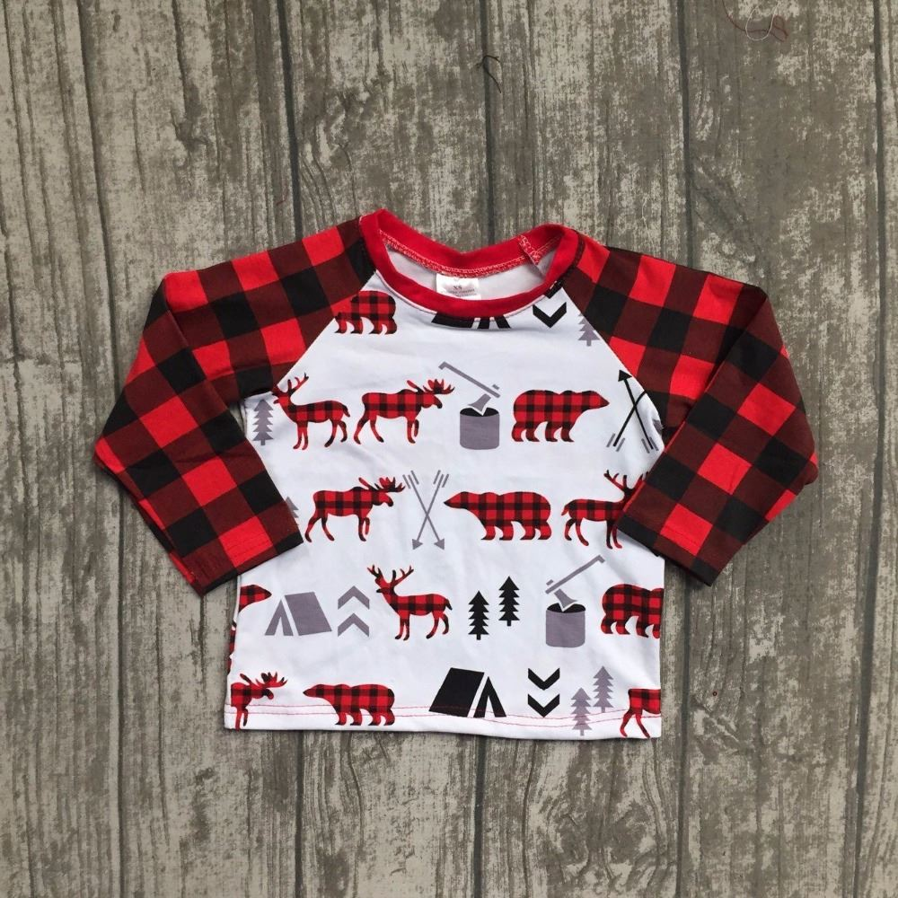 new arrival Christmas Fall/winter baby boys children clothes boutique cotton top t-shirts raglans outfits plaid reindeer white