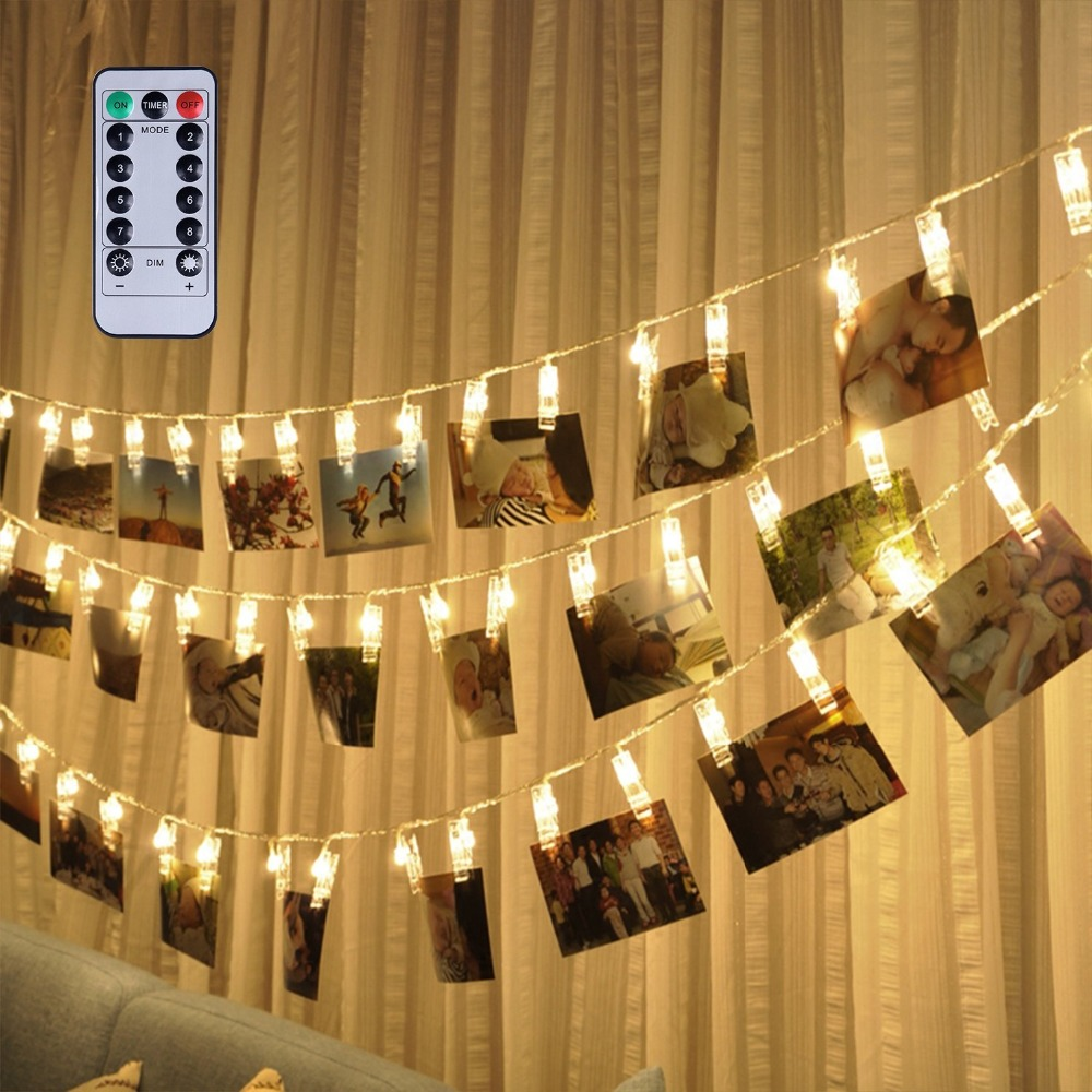 Remote & Timer 16 Feet 40 LED Photo Clip String Lights(Warm White) - 8 Modes Choice Battery Operated Photo Clips